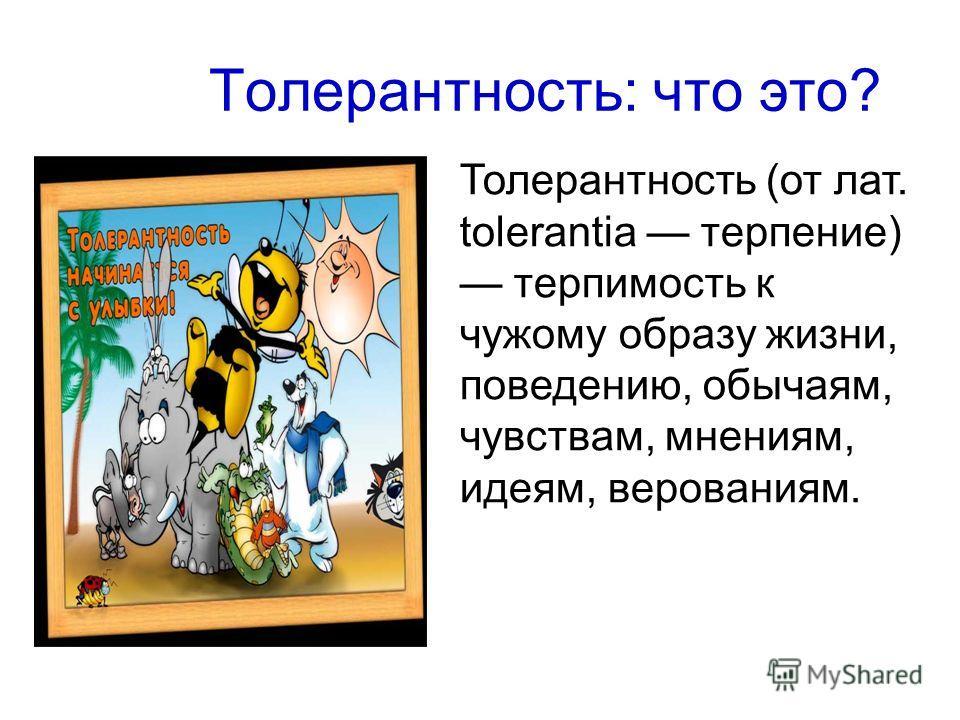 Толерантность: что это? Толерантность (от лат. tolerantia терпение) терпимость к чужому образу жизни, поведению, обычаям, чувствам, мнениям, идеям, верованиям.