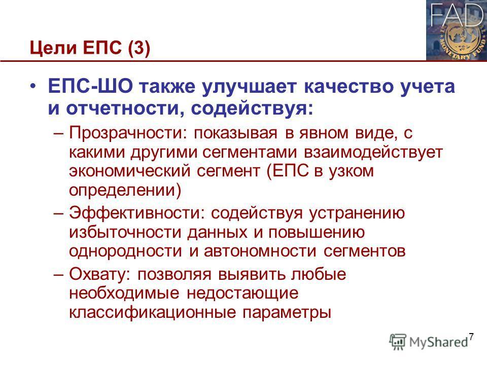 Цели ЕПС (3) ЕПС-ШО также улучшает качество учета и отчетности, содействуя: –Прозрачности: показывая в явном виде, с какими другими сегментами взаимодействует экономический сегмент (ЕПС в узком определении) –Эффективности: содействуя устранению избыт