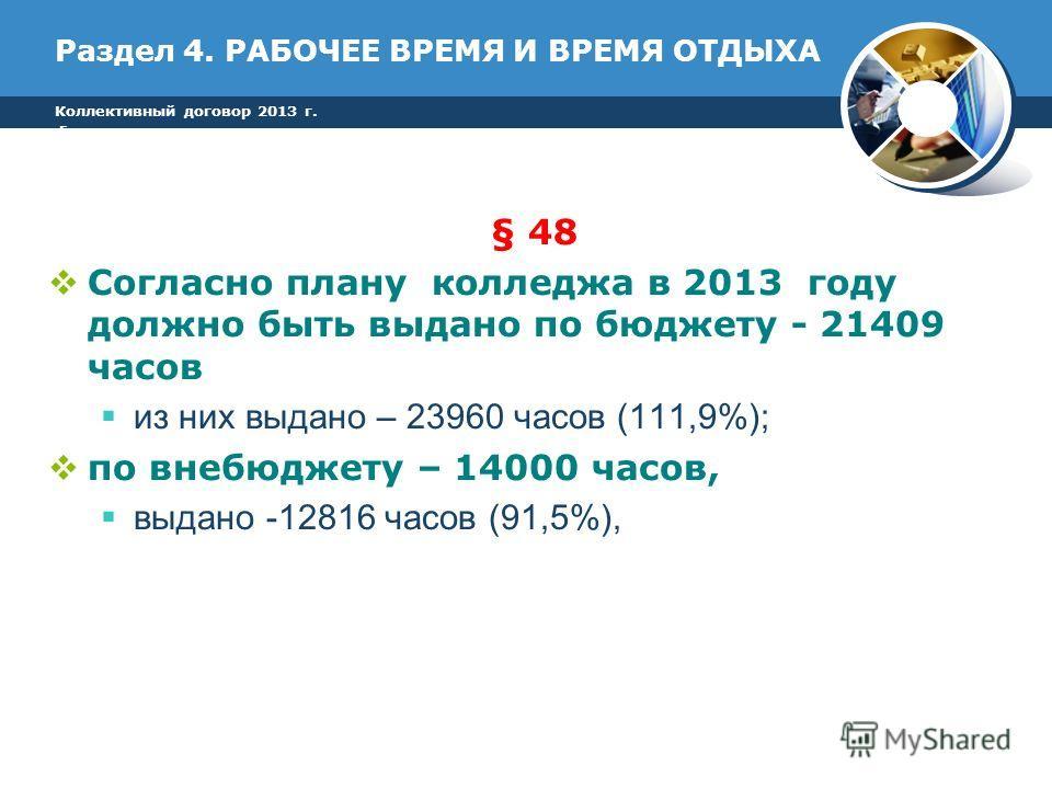 Раздел 4. РАБОЧЕЕ ВРЕМЯ И ВРЕМЯ ОТДЫХА § 48 Согласно плану колледжа в 2013 году должно быть выдано по бюджету - 21409 часов из них выдано – 23960 часов (111,9%); по внебюджету – 14000 часов, выдано -12816 часов (91,5%), Коллективный договор 2013 г. г