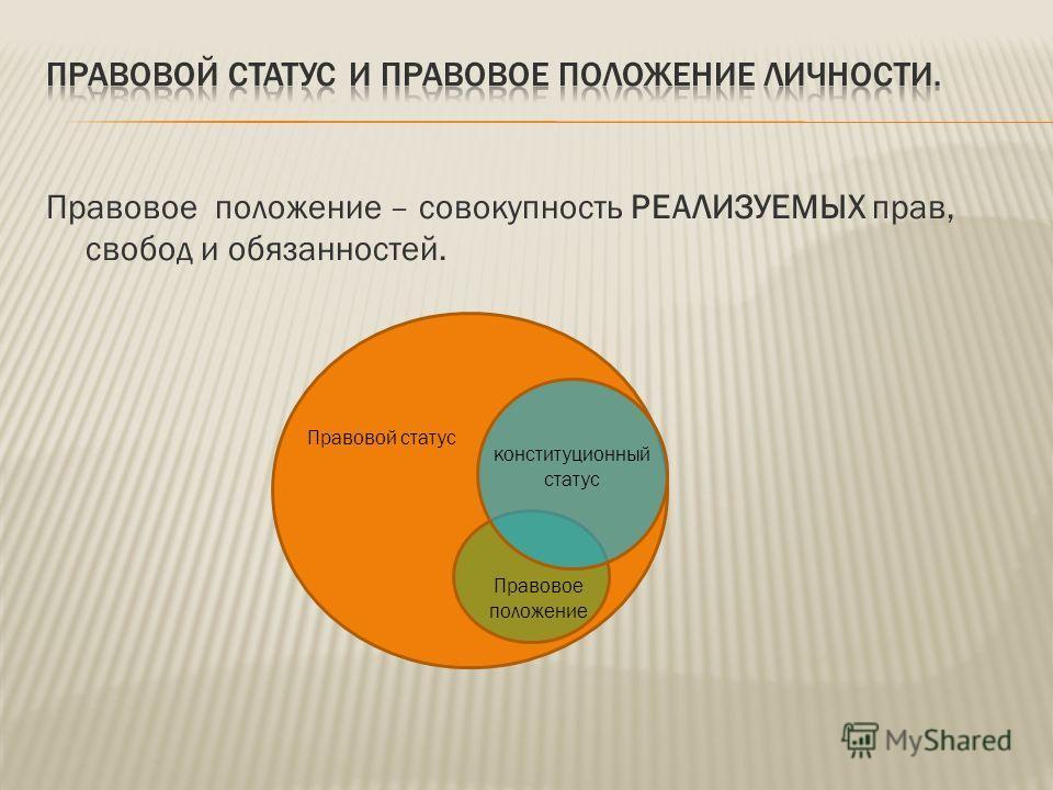 Правовое положение – совокупность РЕАЛИЗУЕМЫХ прав, свобод и обязанностей. Правовой статус конституционный статус Правовое положение