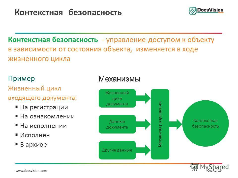 www.docsvision.com Слайд: 16 Контекстная безопасность Контекстная безопасность - управление доступом к объекту в зависимости от состояния объекта, изменяется в ходе жизненного цикла Пример Жизненный цикл входящего документа: На регистрации На ознаком