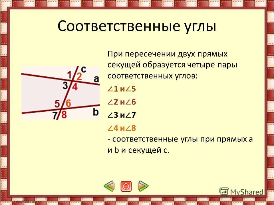 Внутренние односторонние углы Внутренние односторонние углы это углы, которые лежат внутри между прямыми по одну сторону от секущей (поэтому они так и называются). При пересечении двух прямых и секущей образуется две пары внутренних односторонних угл