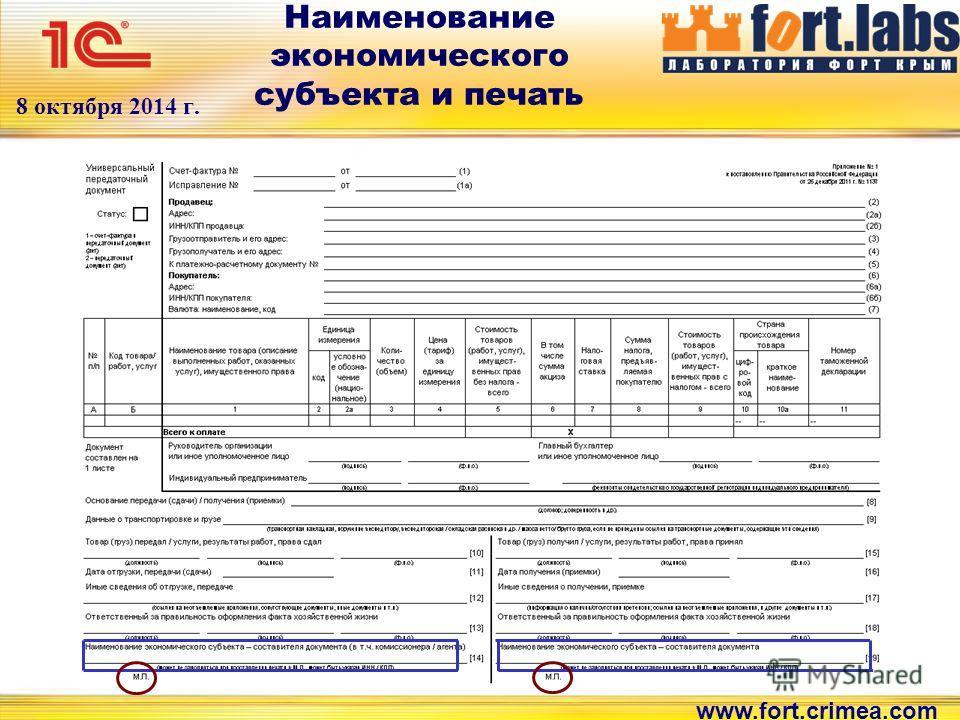 www.fort.crimea.com 8 октября 2014 г. Наименование экономического субъекта и печать