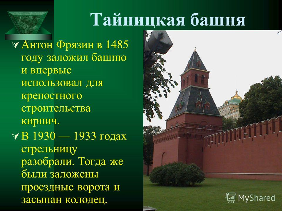Тайницкая башня Антон Фрязин в 1485 году заложил башню и впервые использовал для крепостного строительства кирпич. В 1930 1933 годах стрельницу разобрали. Тогда же были заложены проездные ворота и засыпан колодец.