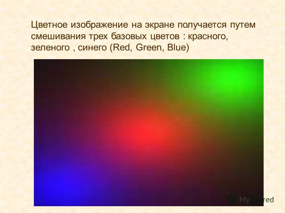 Цветное изображение на экране получается путем смешивания трех базовых цветов : красного, зеленого, синего (Red, Green, Blue)