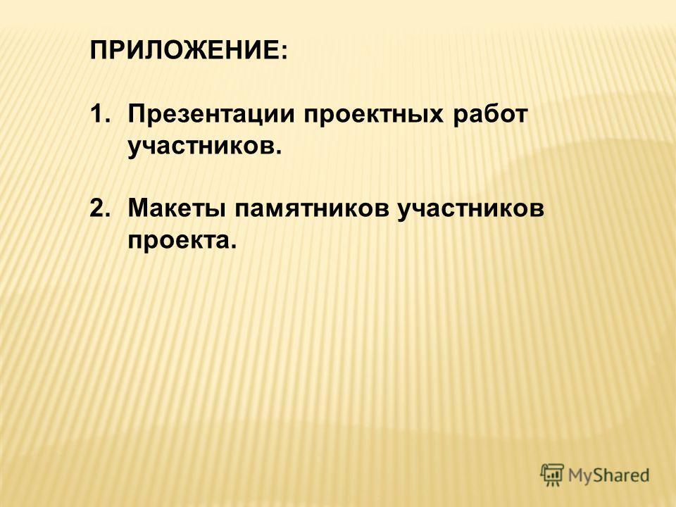ПРИЛОЖЕНИЕ: 1. Презентации проектных работ участников. 2. Макеты памятников участников проекта.