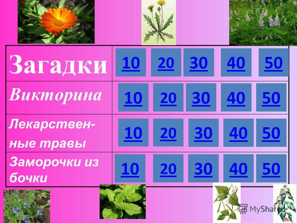 Загадки Викторина Лекарствен- ные травы Заморочки из бочки 10 20 304050 10 20 10 30 40 50