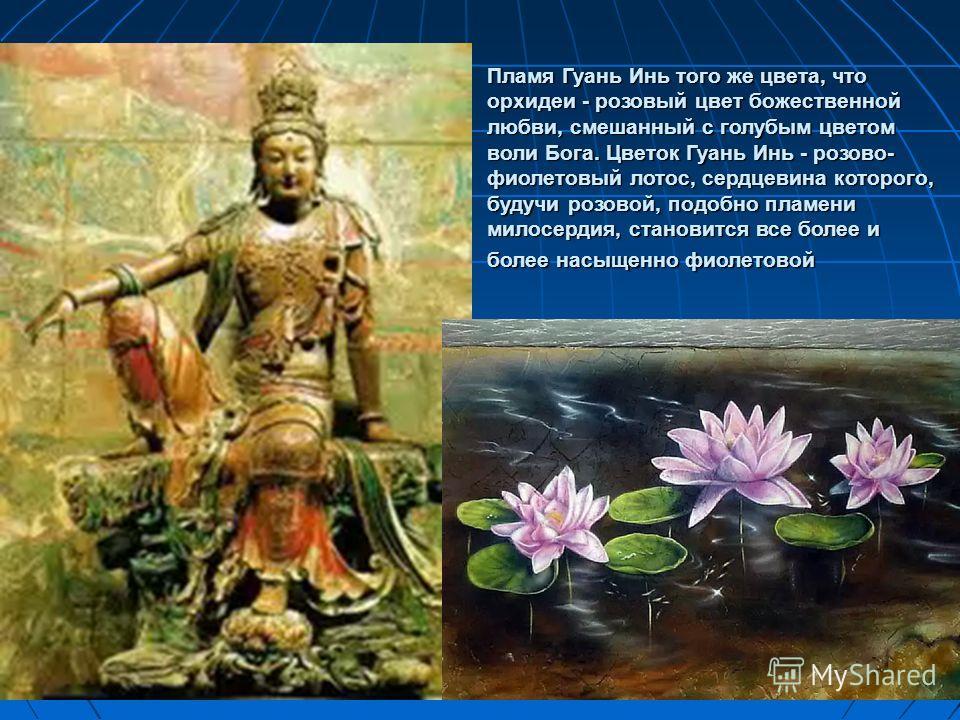 Пламя Гуань Инь того же цвета, что орхидеи - розовый цвет божественной любви, смешанный с голубым цветом воли Бога. Цветок Гуань Инь - розово- фиолетовый лотос, сердцевина которого, будучи розовой, подобно пламени милосердия, становится все более и б