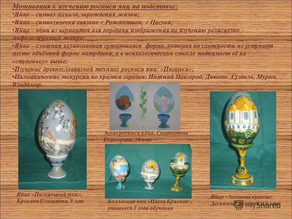 Мотивация к изучению росписи яиц на подставке: Яйцо – символ начала, зарождения жизни; Яйцо – символически связано с Рождеством, с Пасхой; Яйцо – один из вариантов для передачи изображения по изучению религиозно – мифологического жанра; Яйцо – сложна