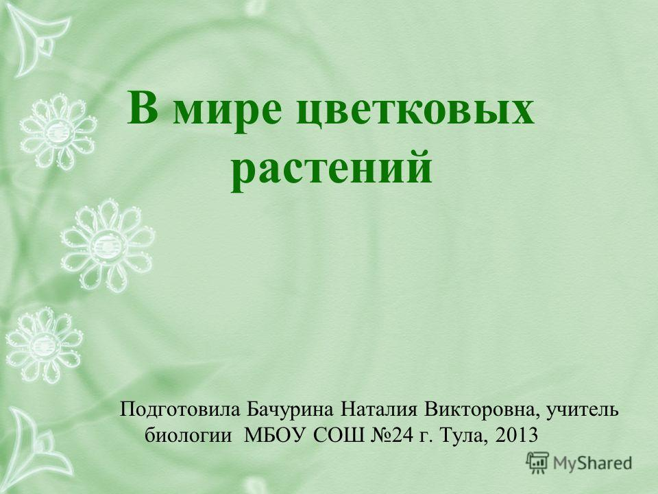 В мире цветковых растений Подготовила Бачурина Наталия Викторовна, учитель биологии МБОУ СОШ 24 г. Тула, 2013
