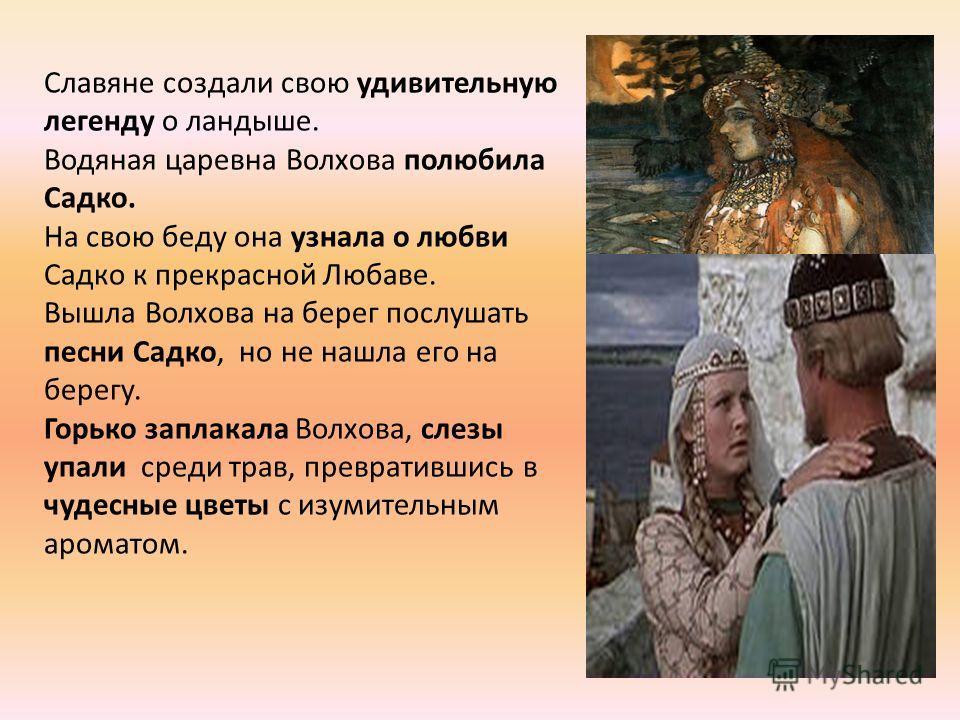 Славяне создали свою удивительную легенду о ландыше. Водяная царевна Волхова полюбила Садко. На свою беду она узнала о любви Садко к прекрасной Любаве. Вышла Волхова на берег послушать песни Садко, но не нашла его на берегу. Горько заплакала Волхова,