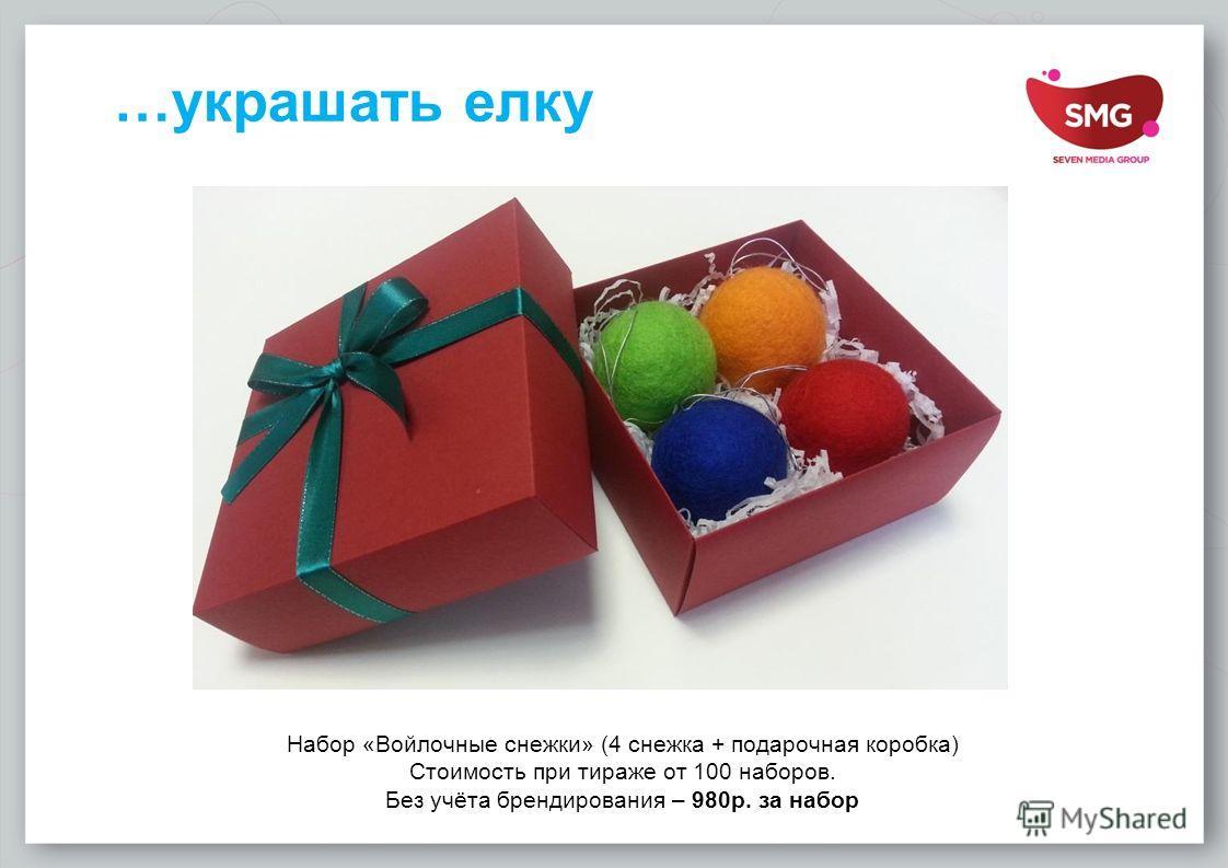 …украшать елку Набор «Войлочные снежки» (4 снежка + подарочная коробка) Стоимость при тираже от 100 наборов. Без учёта брендирования – 980 р. за набор