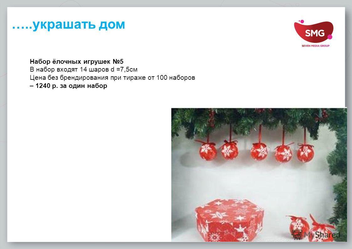 …..украшать дом Набор ёлочных игрушек 5 В набор входят 14 шаров d =7,5 см Цена без брендирования при тираже от 100 наборов – 1240 р. за один набор