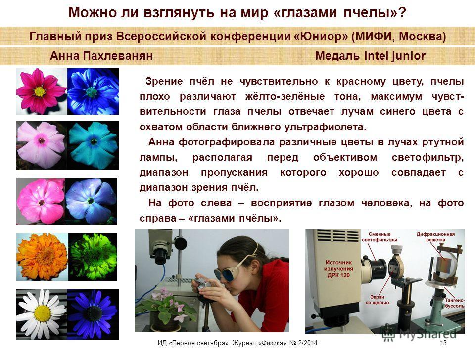 Можно ли взглянуть на мир «глазами пчелы»? Главный приз Всероссийской конференции «Юниор» (МИФИ, Москва) Анна Пахлеванян Медаль Intel junior Зрение пчёл не чувствительно к красному цвету, пчелы плохо различают жёлто-зелёные тона, максимум чувст- вите