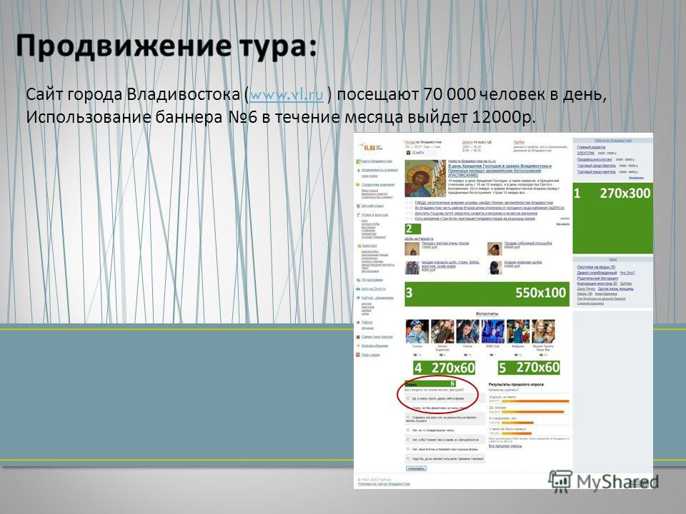 Сайт города Владивостока (www.vl.ru ) посещают 70 000 человек в день, Использование баннера 6 в течение месяца выйдет 12000 р.www.vl.ru