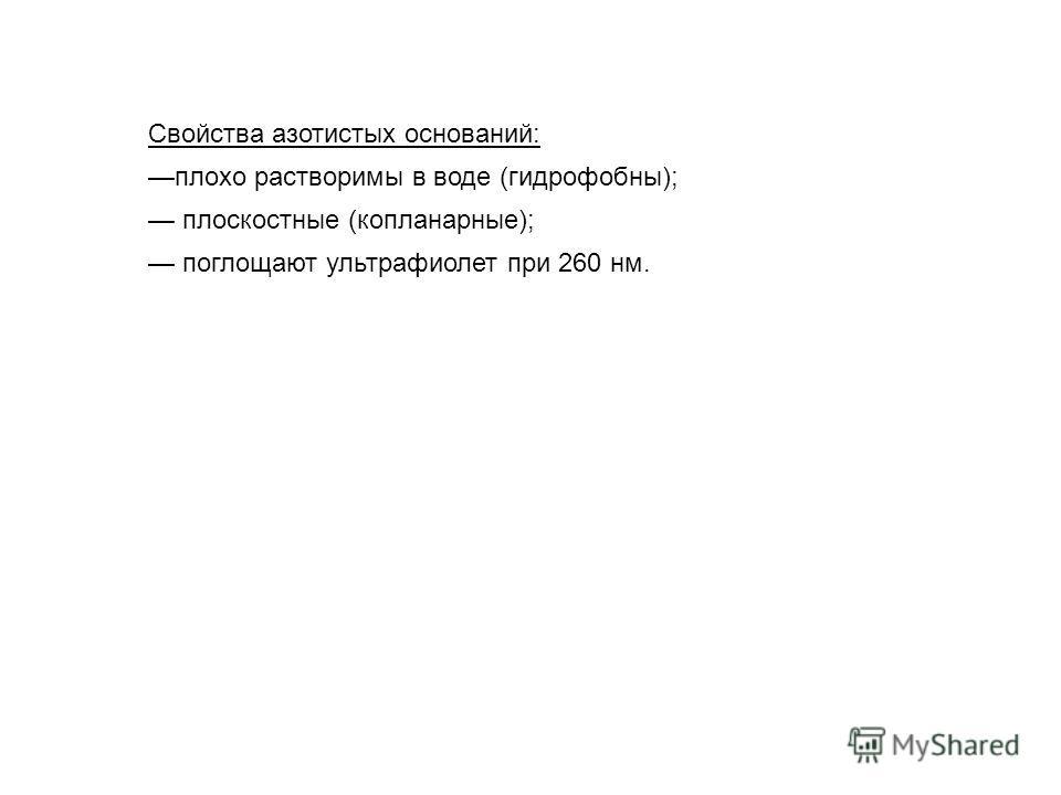 Свойства азотистых оснований: плохо растворимы в воде (гидрофобны); плоскостные (копланарные); поглощают ультрафиолет при 260 нм.