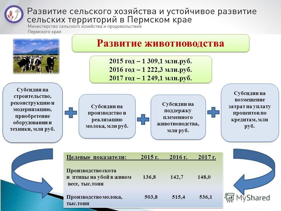 Развитие животноводства 2015 год – 1 309,1 млн.руб. 2016 год – 1 222,3 млн.руб. 2017 год – 1 249,1 млн.руб. 2015 год – 1 309,1 млн.руб. 2016 год – 1 222,3 млн.руб. 2017 год – 1 249,1 млн.руб. Субсидии на производство и реализацию молока, млн руб. Суб