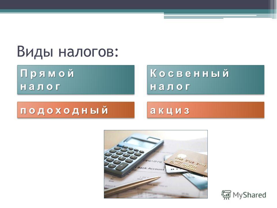 Виды налогов: Прямойналог Прямойналог Косвенный налог подоходныйподоходныйакцизакциз