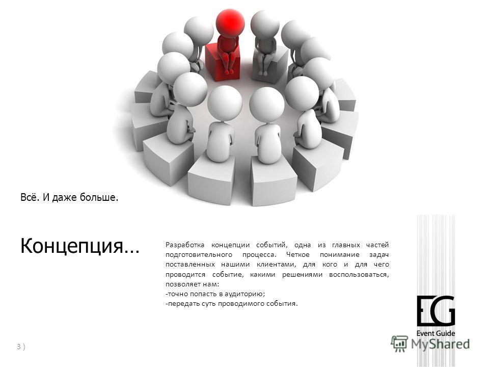 Всё. И даже больше. Презентация компании 3 ) Концепция… Разработка концепции событий, одна из главных частей подготовительного процесса. Четкое понимание задач поставленных нашими клиентами, для кого и для чего проводится событие, какими решениями во