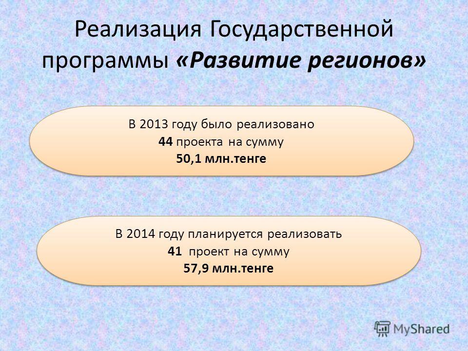 Реализация Государственной программы «Развитие регионов» В 2013 году было реализовано 44 проекта на сумму 50,1 млн.тенге В 2013 году было реализовано 44 проекта на сумму 50,1 млн.тенге В 2014 году планируется реализовать 41 проект на сумму 57,9 млн.т