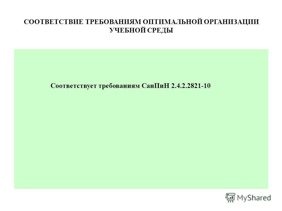 СООТВЕТСТВИЕ ТРЕБОВАНИЯМ ОПТИМАЛЬНОЙ ОРГАНИЗАЦИИ УЧЕБНОЙ СРЕДЫ Соответствует требованиям Сан ПиН 2.4.2.2821-10