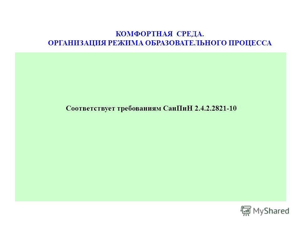 КОМФОРТНАЯ СРЕДА. ОРГАНИЗАЦИЯ РЕЖИМА ОБРАЗОВАТЕЛЬНОГО ПРОЦЕССА Соответствует требованиям Сан ПиН 2.4.2.2821-10
