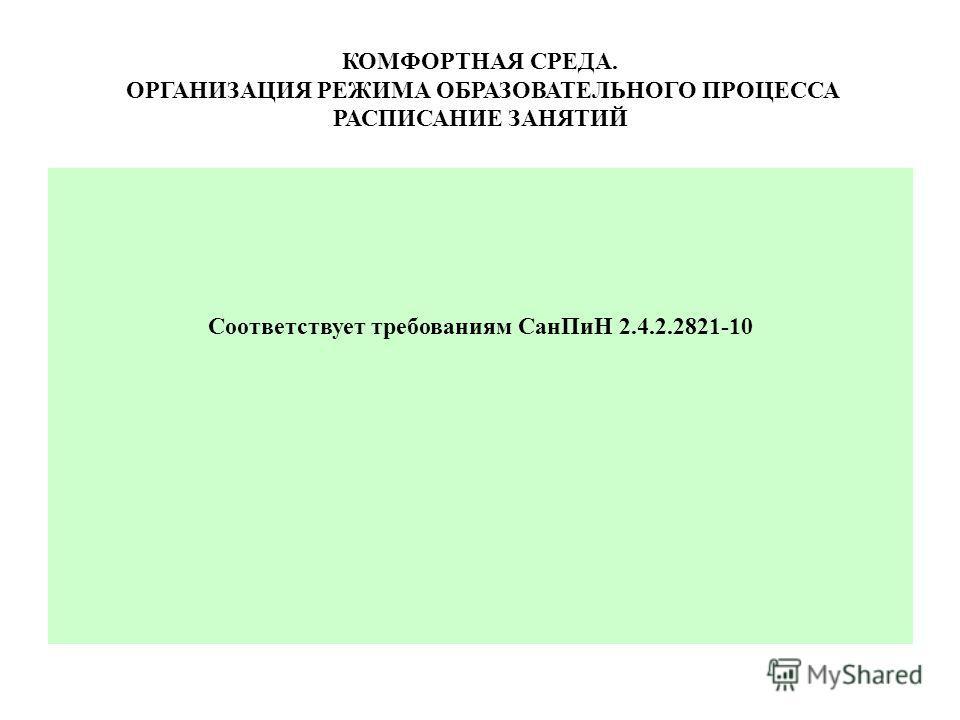 КОМФОРТНАЯ СРЕДА. ОРГАНИЗАЦИЯ РЕЖИМА ОБРАЗОВАТЕЛЬНОГО ПРОЦЕССА РАСПИСАНИЕ ЗАНЯТИЙ Соответствует требованиям Сан ПиН 2.4.2.2821-10