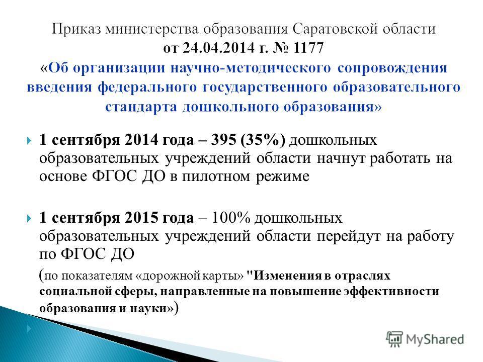1 сентября 2014 года – 395 (35%) дошкольных образовательных учреждений области начнут работать на основе ФГОС ДО в пилотном режиме 1 сентября 2015 года – 100% дошкольных образовательных учреждений области перейдут на работу по ФГОС ДО ( по показателя