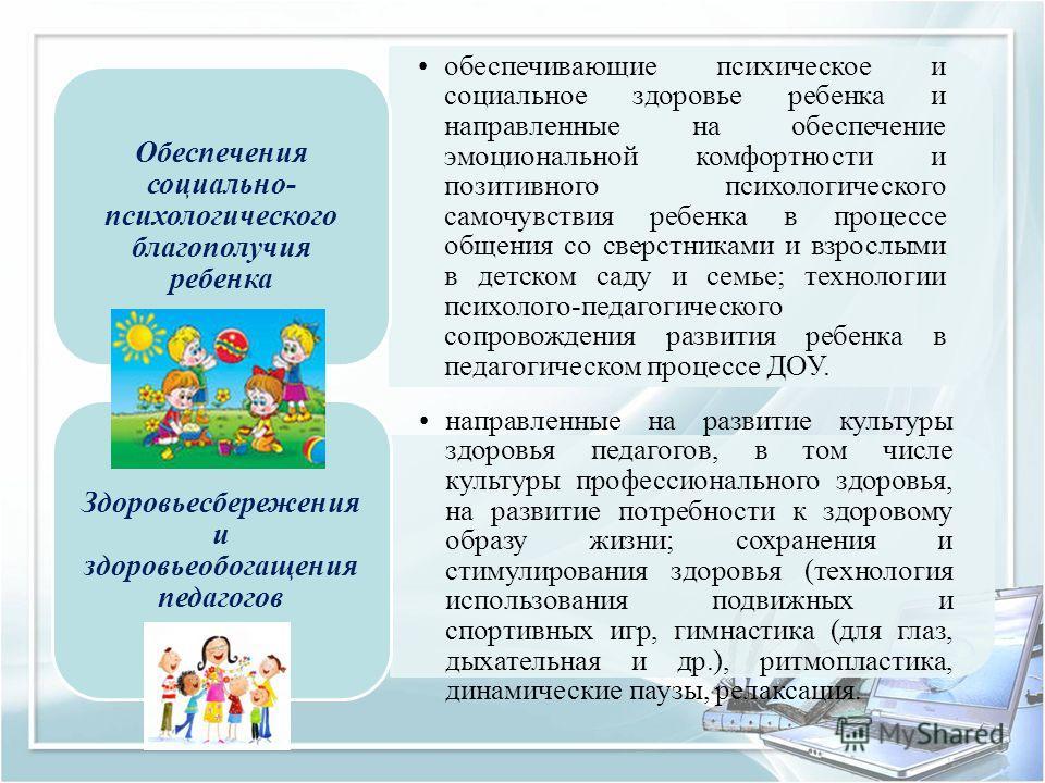 обеспечивающие психическое и социальное здоровье ребенка и направленные на обеспечение эмоциональной комфортности и позитивного психологического самочувствия ребенка в процессе общения со сверстниками и взрослыми в детском саду и семье; технологии пс
