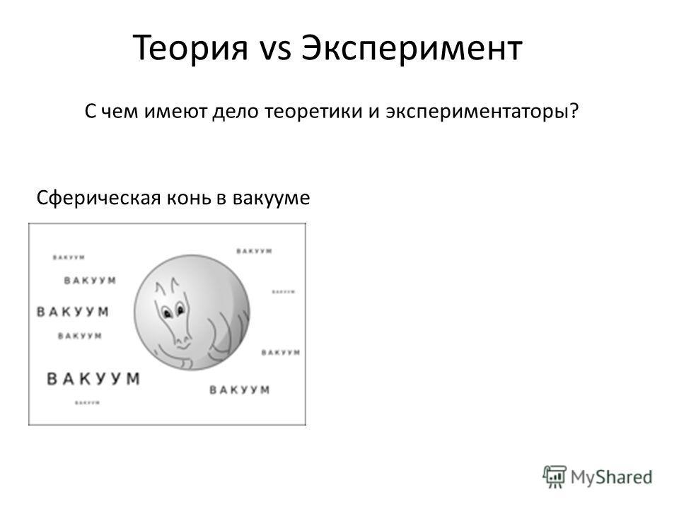 Теория vs Эксперимент С чем имеют дело теоретики и экспериментаторы? Сферическая конь в вакууме
