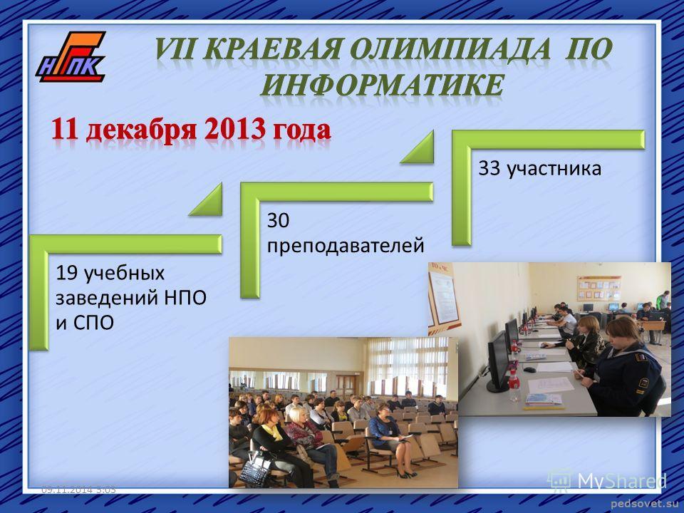 19 учебных заведений НПО и СПО 30 преподавателей 33 участника 09.11.2014 5:05