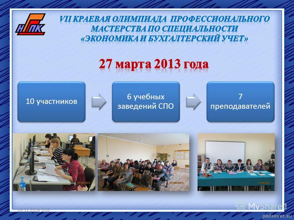 10 участников 6 учебных заведений СПО 7 преподавателей 09.11.2014 5:05