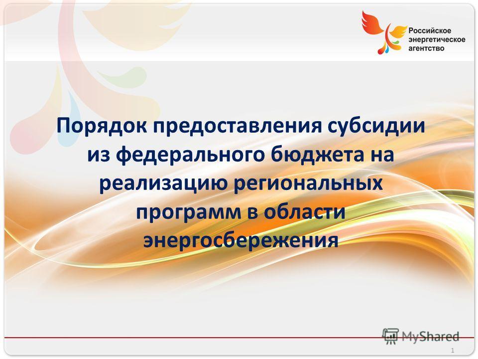 Российское энергетическое агентство Порядок предоставления субсидии из федерального бюджета на реализацию региональных программ в области энергосбережения 1