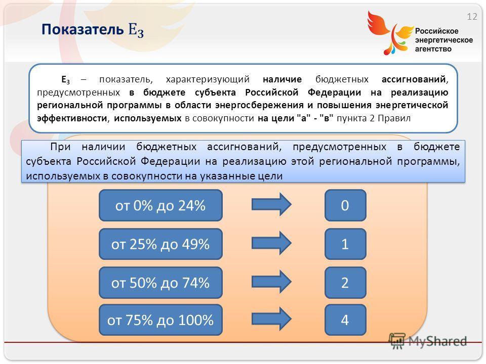 12 E 3 – показатель, характеризующий наличие бюджетных ассигнований, предусмотренных в бюджете субъекта Российской Федерации на реализацию региональной программы в области энергосбережения и повышения энергетической эффективности, используемых в сово