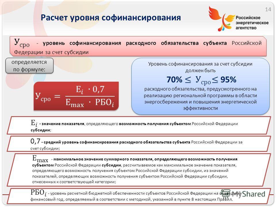 Расчет уровня софинансирования 14 определяется по формуле: 0,7 - средний уровень софинансирования расходного обязательства субъекта Российской Федерации за счет субсидии;