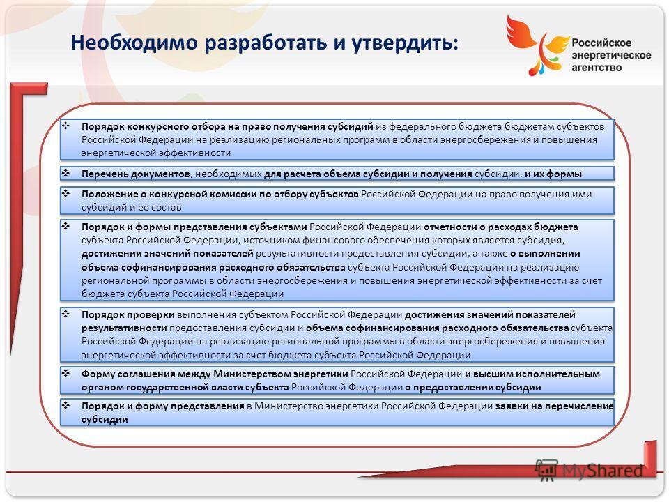 Российское энергетическое агентство 19 Необходимо разработать и утвердить: Порядок конкурсного отбора на право получения субсидий из федерального бюджета бюджетам субъектов Российской Федерации на реализацию региональных программ в области энергосбер