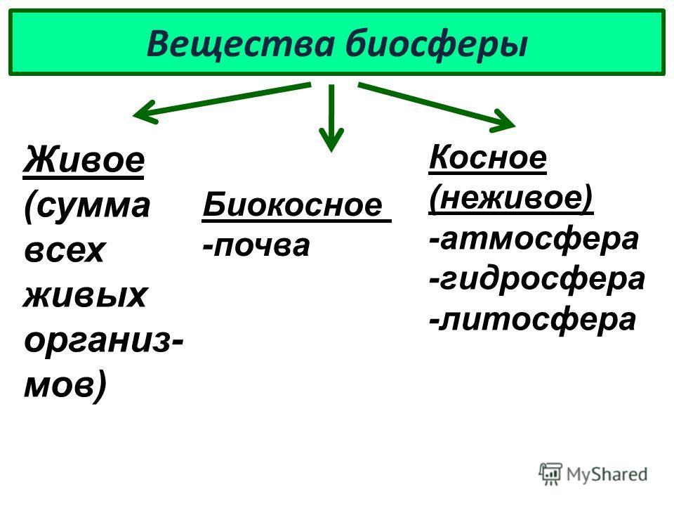 Вещества биосферы Живое (сумма всех живых организ- мов) Косное (неживое) -атмосфера -гидросфера -литосфера Биокосное -почва