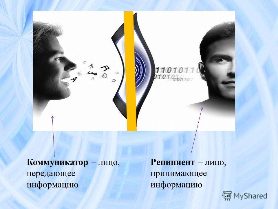 Коммуникатор – лицо, передающее информацию Реципиент – лицо, принимающее информацию
