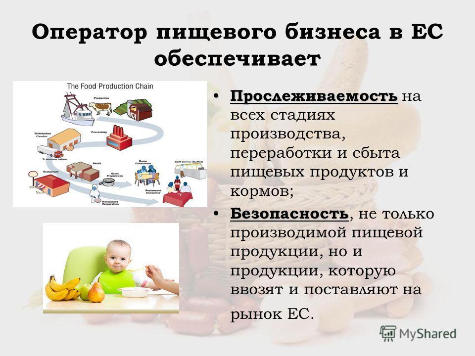 Оператор пищевого бизнеса в ЕС обеспечивает Прослеживаемость Прослеживаемость на всех стадиях производства, переработки и сбыта пищевых продуктов и кормов; Безопасность Безопасность, не только производимой пищевой продукции, но и продукции, которую в