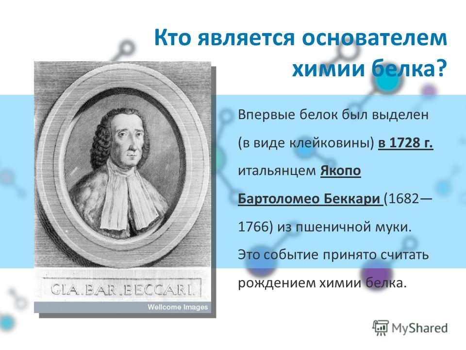 Кто является основателем химии белка? Впервые белок был выделен (в виде клейковины) в 1728 г. итальянцем Якопо Бартоломео Беккари (1682 1766) из пшеничной муки. Это событие принято считать рождением химии белка.