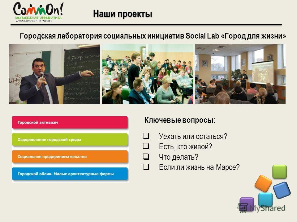 Наши проекты Городская лаборатория социальных инициатив Social Lab «Город для жизни» Уехать или остаться? Есть, кто живой? Что делать? Если ли жизнь на Марсе? Ключевые вопросы: