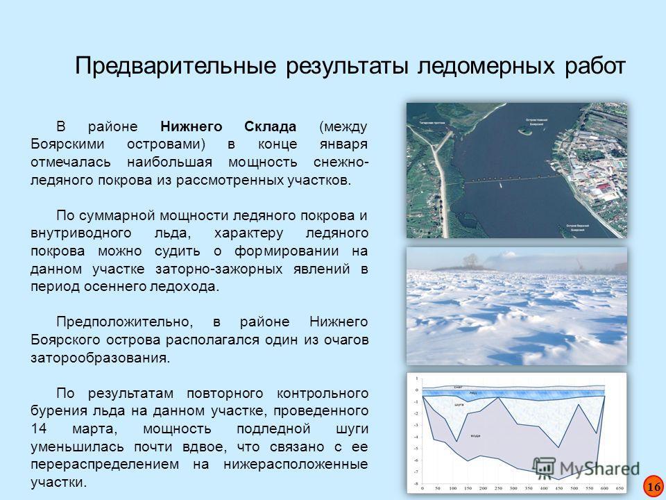 Предварительные результаты ледомерных работ В районе Нижнего Склада (между Боярскими островами) в конце января отмечалась наибольшая мощность снежно- ледяного покрова из рассмотренных участков. По суммарной мощности ледяного покрова и внутриводного л