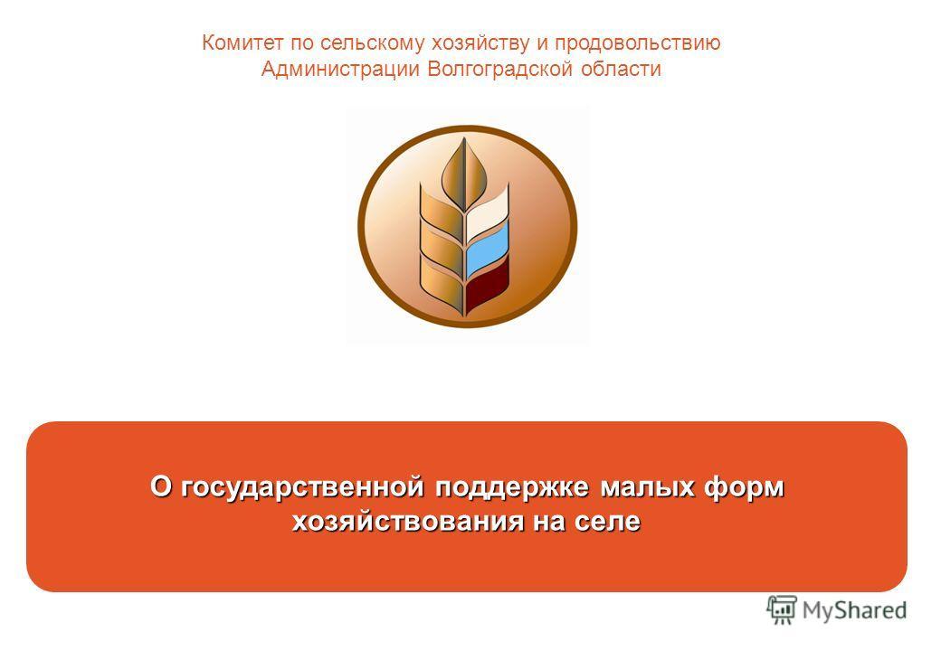 О государственной поддержке малых форм хозяйствования на селе Комитет по сельскому хозяйству и продовольствию Администрации Волгоградской области
