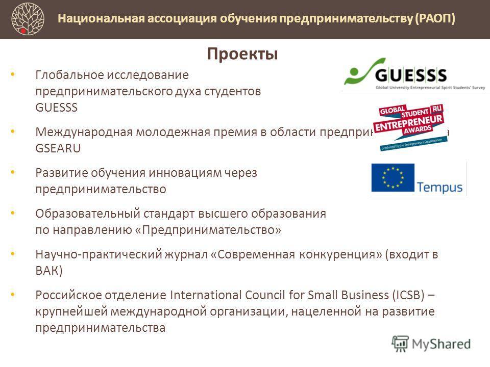 Проекты Глобальное исследование предпринимательского духа студентов GUESSS Международная молодежная премия в области предпринимательства GSEARU Развитие обучения инновациям через предпринимательство Образовательный стандарт высшего образования по нап