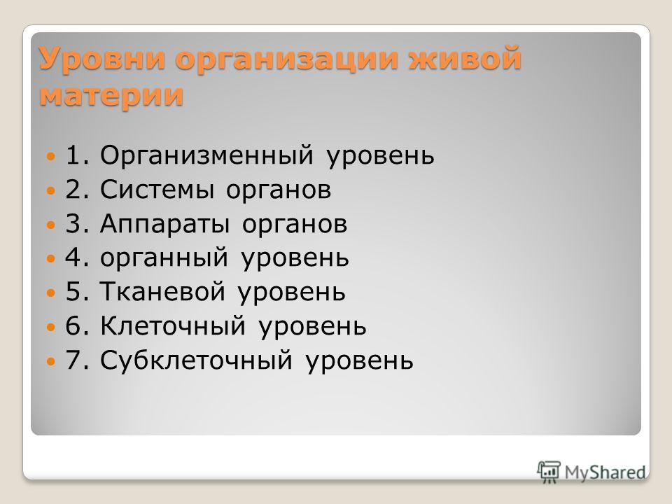 1. Организменный уровень 2. Системы органов 3. Аппараты органов 4. органный уровень 5. Тканевой уровень 6. Клеточный уровень 7. Субклеточный уровень