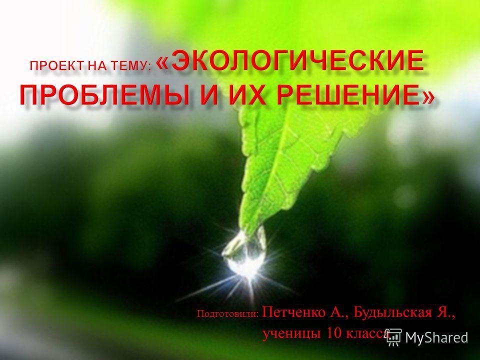 Подготовили : Петченко А., Будыльская Я., ученицы 10 класса
