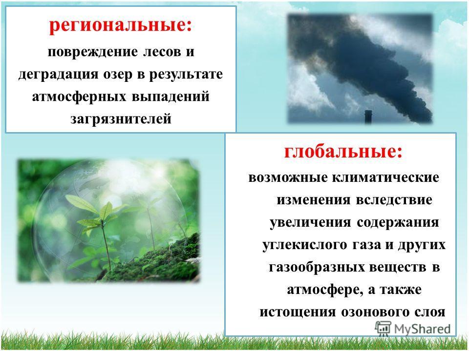 региональные: повреждение лесов и деградация озер в результате атмосферных выпадений загрязнителей глобальные: возможные климатические изменения вследствие увеличения содержания углекислого газа и других газообразных веществ в атмосфере, а также исто