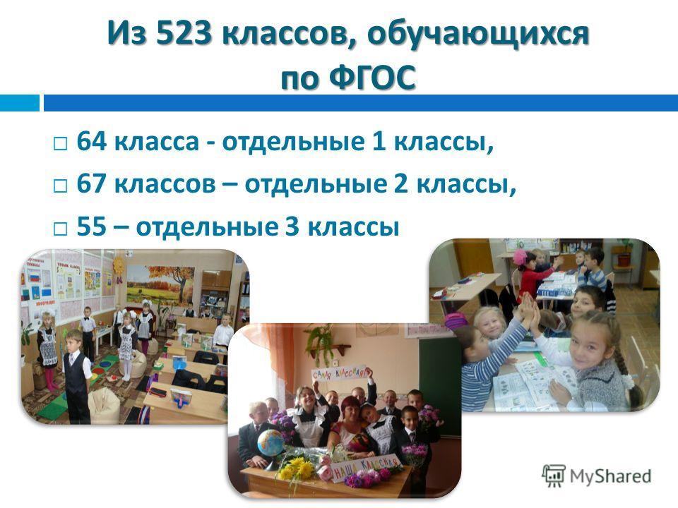 Из 523 классов, обучающихся по ФГОС 64 класса - отдельные 1 классы, 67 классов – отдельные 2 классы, 55 – отдельные 3 классы