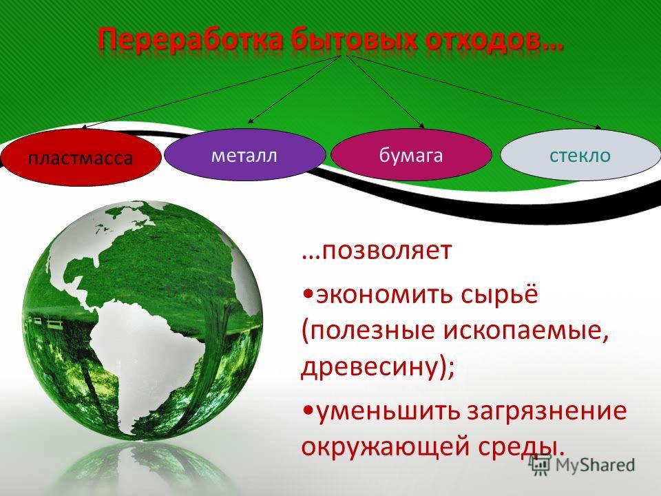 …позволяет экономить сырьё (полезные ископаемые, древесину); уменьшить загрязнение окружающей среды. пластмасса стеклометаллбумага