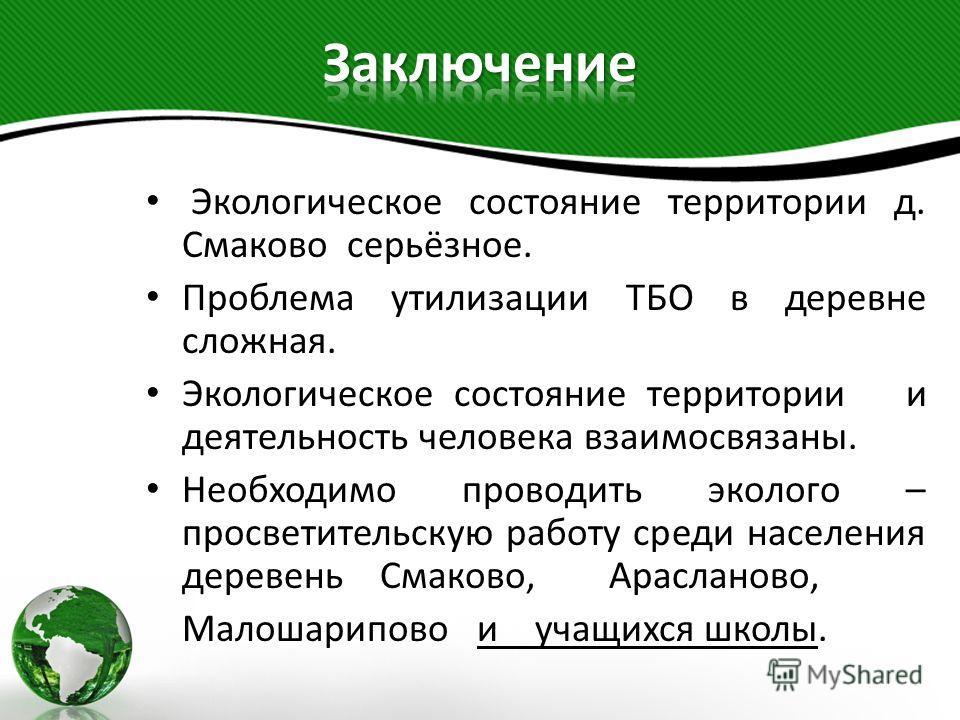 Экологическое состояние территории д. Смаково серьёзное. Проблема утилизации ТБО в деревне сложная. Экологическое состояние территории и деятельность человека взаимосвязаны. Необходимо проводить эколого – просветительскую работу среди населения дерев